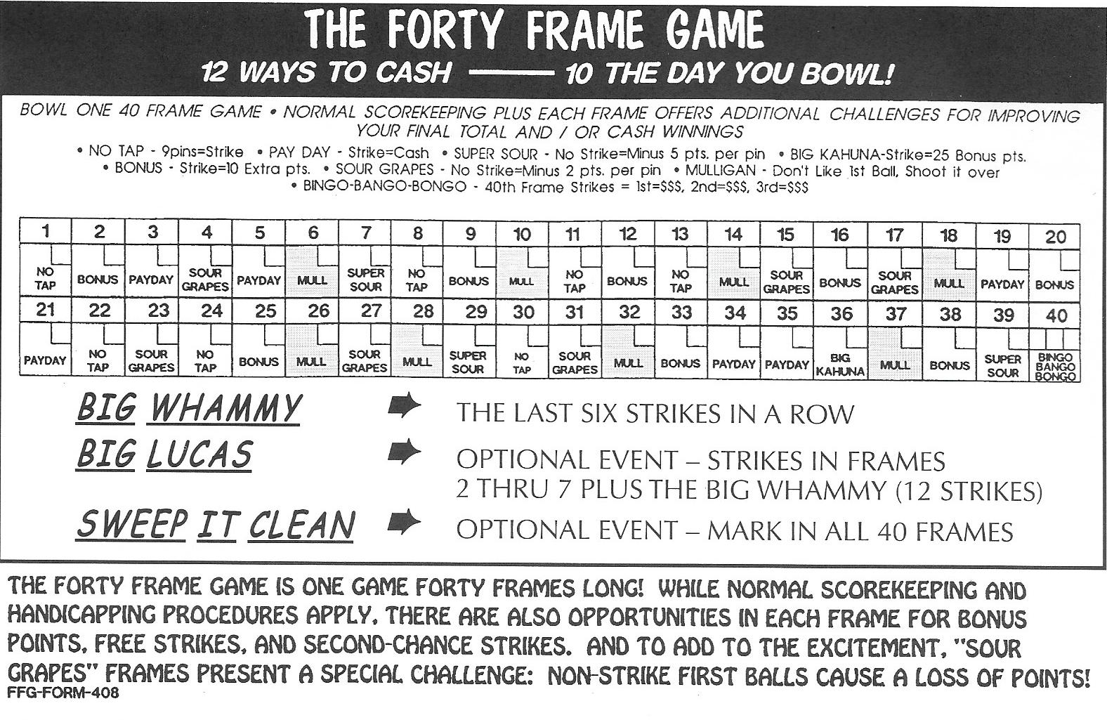 The Forty Frame Game ® is the world\'s most unusual bowling tournament